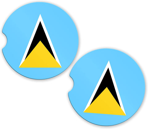 Saint Lucia Flag Custom Car Coasters Cup Holder Matching Coaster Set