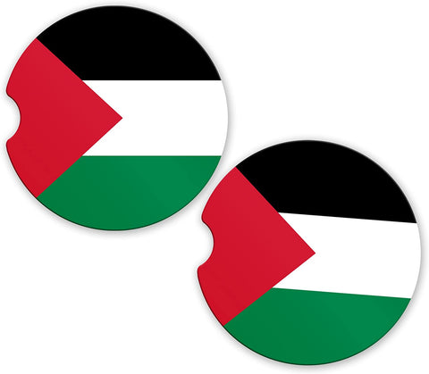 Palestine Flag Custom Car Coasters Cup Holder Matching Coaster Set