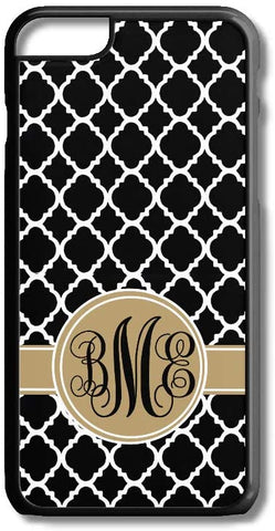 Black Quatrefoil Lattice Pattern Custom Monogram for iPhone Case Cover 5/5S/SE/6/6S 6/6S 7 8 Plus X XS TPU
