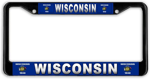 Wisconsin #3 State Flag Black Metal Car Auto License Plate Frame Holder Black