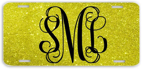 BrownInnovativeMedia Yellow Vine Glitter Look Print Monogrammed Personalized Custom Initials License Plate Car Tag