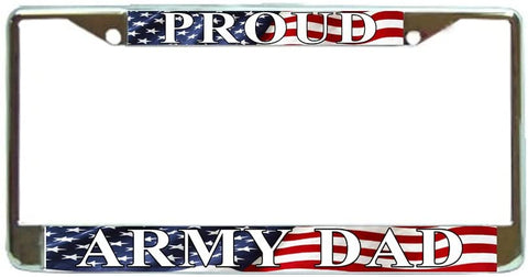 US Proud Army Dad USA Flag Military License Plate Frame Holder Chrome …