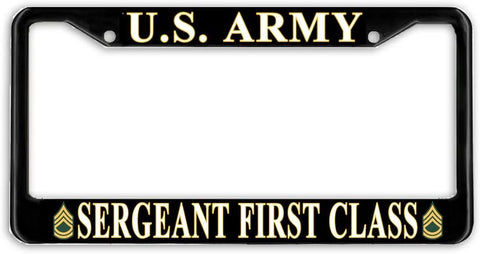 US Army Sergeant 1 St Class E-7 Military License Plate Frame Holder Black …