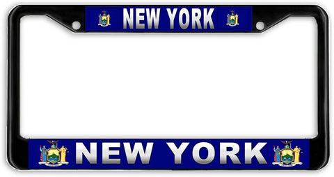 New York #3 State Flag Black Metal Car Auto License Plate Frame Holder Black