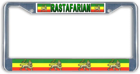 BrownInnovativeMedia Rasta Flag Metal License Plate Frame Holder Chrome