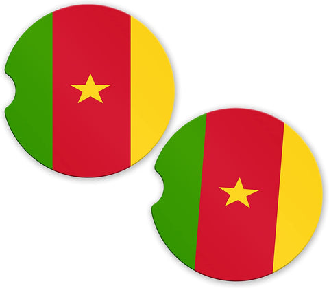 Cameroon Flag Custom Car Coasters Cup Holder Matching Coaster Set