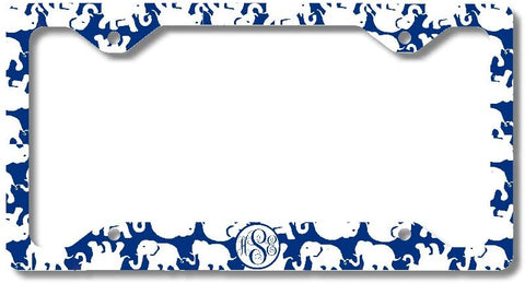 BrownInnovativeMedia Blue White Elephants Print Monogram Personalized Custom Initials License Plate Frame Car Tag