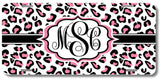 Leopard Cheetah White Pink Print Monogrammed Personalized Custom Initials License Plate Car Tag