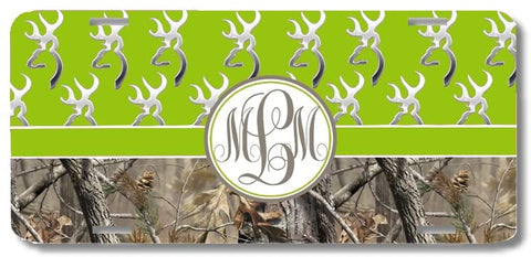 Green Monogrammed Deer Buck Camo Print Monogrammed Personalized Custom Initials License Plate Car Tag