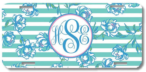 Mint Teal Stripes And Flowers Print Monogrammed Personalized Custom Initials License Plate Car Tag