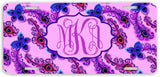 BrownInnovativeMedia Peacock Feather Pink Purple Print Monogram Personalized Custom Initials License Plate Car Tag