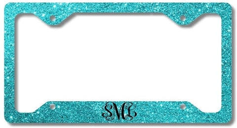 BrownInnovativeMedia Aqua Glitter Look Print Monogram Personalized Custom Initials License Plate Frame Car Tag