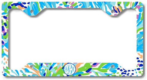 Blue Floral Ocean Print Monogram Personalized Custom Initials License Plate Frame Car Tag