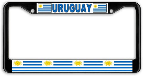 Uruguay Flag Black Metal Car Auto License Plate Frame Holder Black