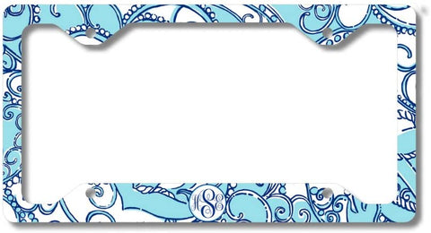 BrownInnovativeMedia Blue Anchor Nautical Paisley Print Monogram Personalized Custom Initials License Plate Frame Car Tag