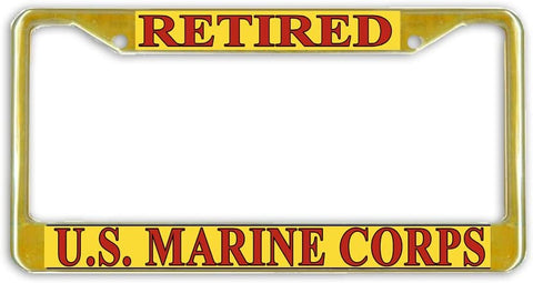 BrownInnovativeMedia US Marine Corps Marines Retired Military License Plate Frame Holder Gold Tone