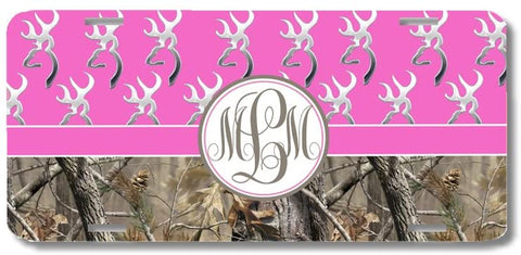 Hot Pink Monogrammed Deer Buck Camo Print Monogrammed Personalized Custom Initials License Plate Car Tag