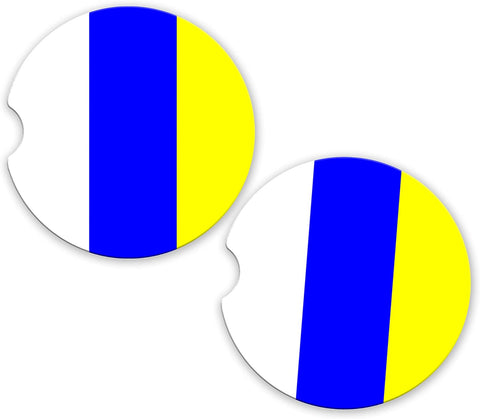 Canary Islands Flag Custom Car Coasters Cup Holder Matching Coaster Set