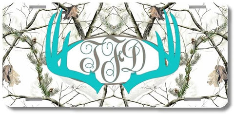 Aqua Monogrammed Deer Antlers White Camo Print Monogrammed Personalized Custom Initials License Plate Car Tag