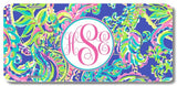 BrownInnovativeMedia Purple Lime Floral Paisley Print Monogrammed Personalized Custom Initials License Plate Car Tag