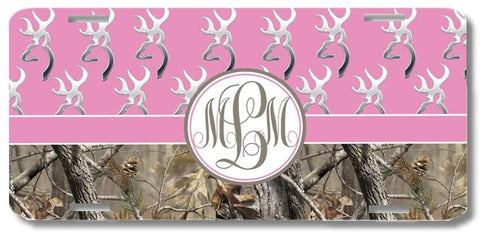 BrownInnovativeMedia Pink Monogrammed Deer Buck Camo Print Monogrammed Personalized Custom Initials License Plate Car Tag