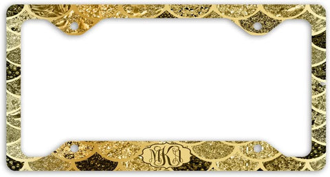 BrownInnovativeMedia Gold Mermaid Scales Glitter Look Print Monogram Personalized Custom Initials License Plate Frame Car Tag
