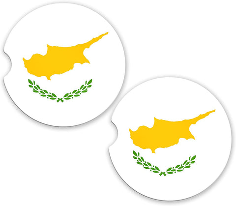 Cyprus Flag Custom Car Coasters Cup Holder Matching Coaster Set