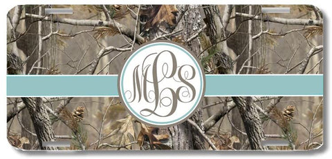 Brown Camo Blue Ribbon Print Monogrammed Personalized Custom Initials License Plate Car Tag