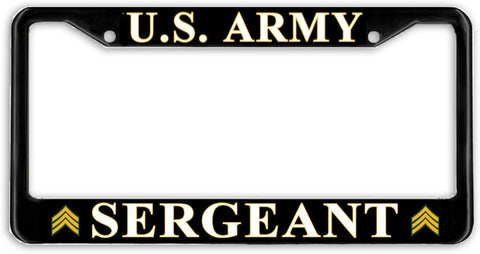 US Army Sergeant E-5 Military License Plate Frame Holder Black …