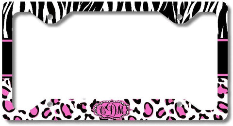 Leopard Hot Pink Zebra Print Monogram Personalized Custom Initials License Plate Frame Car Tag