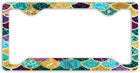 BrownInnovativeMedia Mint Gold Purple Mermaid Scales Glitter Look Print Monogram Personalized Custom Initials License Plate Frame Car Tag