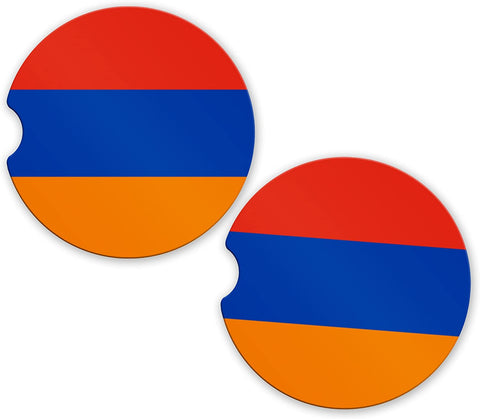 Armenia Flag Custom Car Coasters Cup Holder Matching Coaster Set