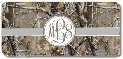 Brown Camo Gray Ribbon Print Monogrammed Personalized Custom Initials License Plate Car Tag
