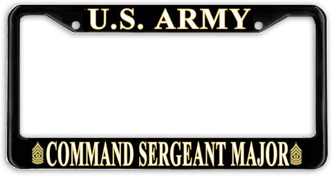 US Army Command Sergeant Major E-9 Military License Plate Frame Holder Black …