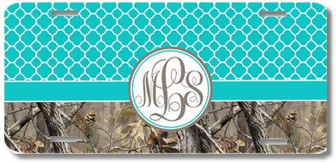 Aqua Monogrammed Lattice Camo Print Monogrammed Personalized Custom Initials License Plate Car Tag