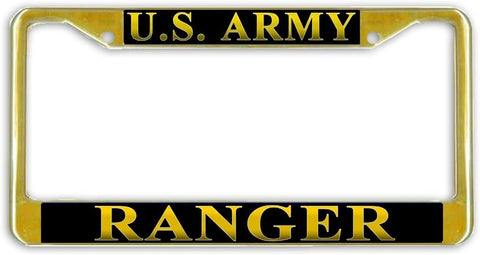 US Army Ranger Military License Plate Frame Holder Gold Tone