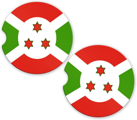 Burundi Flag Custom Car Coasters Cup Holder Matching Coaster Set