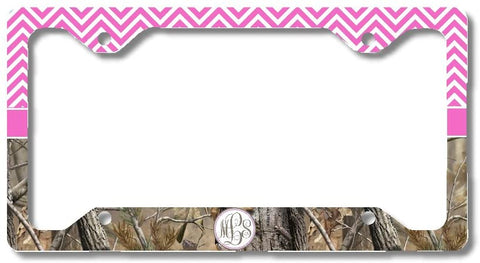 Hot Pink Monogram Chevron Camo Personalized Custom Initials License Plate Frame Car Tag