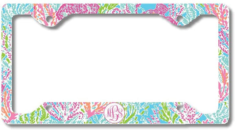 BrownInnovativeMedia Ocean Pastels Print Monogram Personalized Custom Initials License Plate Frame Car Tag