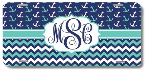 Mint Navy Anchors Chevron Print Monogrammed Personalized Custom Initials License Plate Car Tag