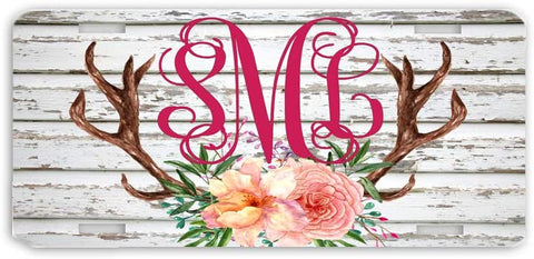 BrownInnovativeMedia White Wood Floral Antlers Distressed Print Monogrammed Personalized Custom Initials License Plate Car Tag