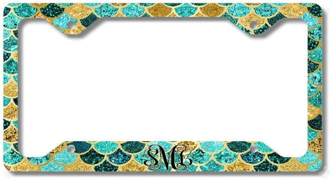 BrownInnovativeMedia Green Gold Mint Mermaid Scales Glitter Look Vine Print Monogram Personalized Custom Initials License Plate Frame Car Tag