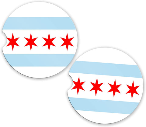 BrownInnovativeMedia Chicago State Flag Custom Car Coasters Cup Holder Matching Coaster Set