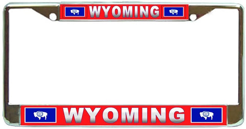 Wyoming State #3 License Plate Frame Holder Chrome …