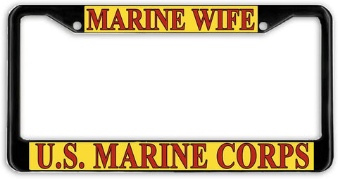 US Marine Corps Marines Wife Military License Plate Frame Holder Black