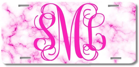 White Hot Pink Marble Print Monogram Personalized Custom Initials License Plate Car Tag