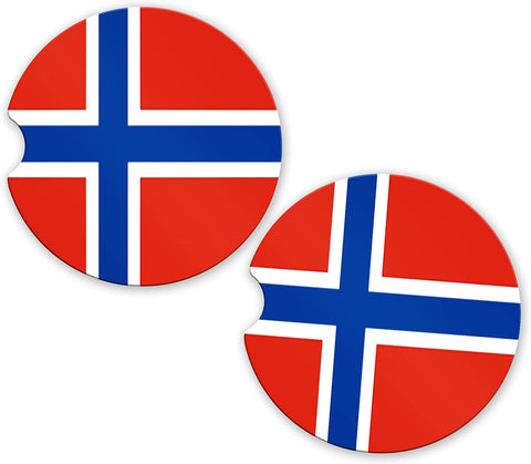 Norway Flag Custom Car Coasters Cup Holder Matching Coaster Set