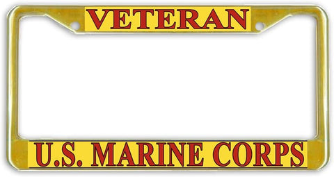 US Marine Corps Marines Veteran Military License Plate Frame Holder Gold Tone