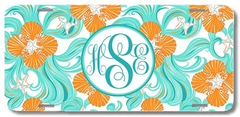 Mint Ocean Waves Star Fish Sea Shells Print Monogrammed Personalized Custom Initials License Plate Car Tag