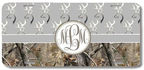 Gray Monogrammed Deer Buck Camo Print Monogrammed Personalized Custom Initials License Plate Car Tag